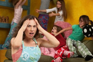 Busy mother going crazy with kids